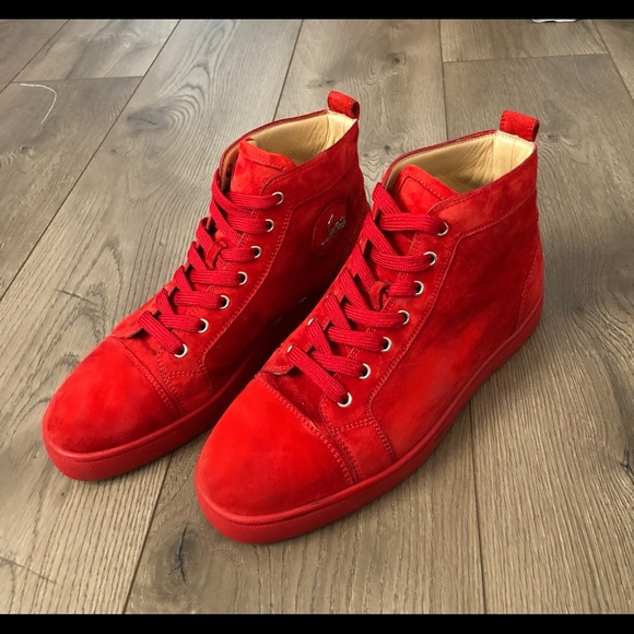 quality design 4e2b2 ff01b Christian Louboutin red on red laced high tops